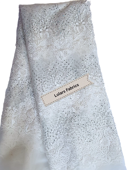 White Stoned Royal Embroidered Tulle Lace Fabric