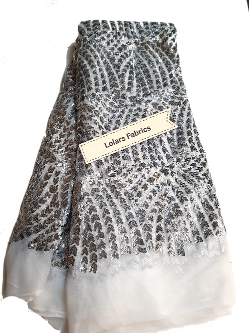 Silver Sequins Fiesta on White Tulle Lace Fabric