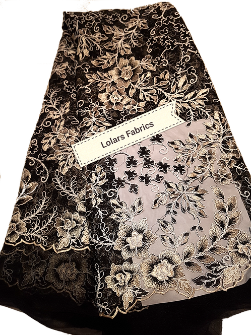 Charming Black and Beige embroidered Tulle Lace