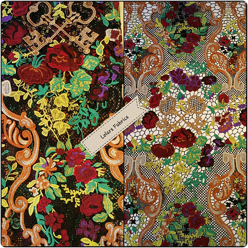 D & G Multicoloured Gold Tone Embroidered Couture Fabric