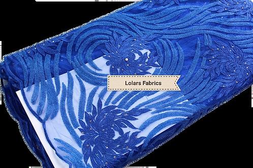 Blue swirl Tulle Lace