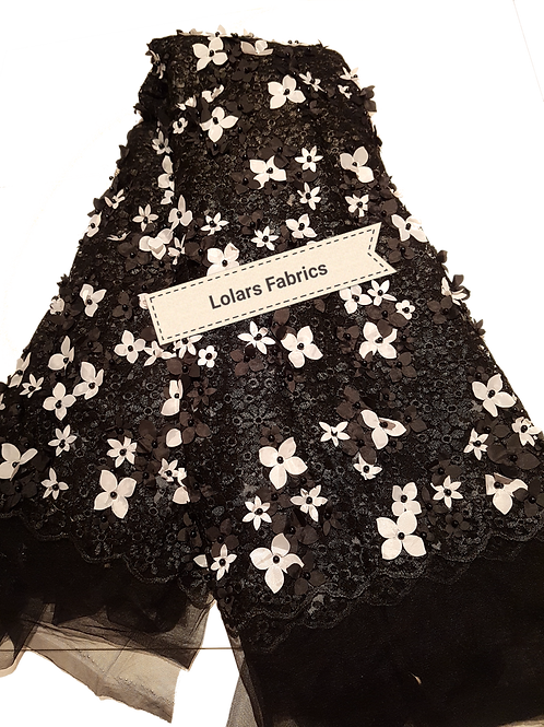 Alluring Black and White 3d Embroidered Tulle Lace Fabric