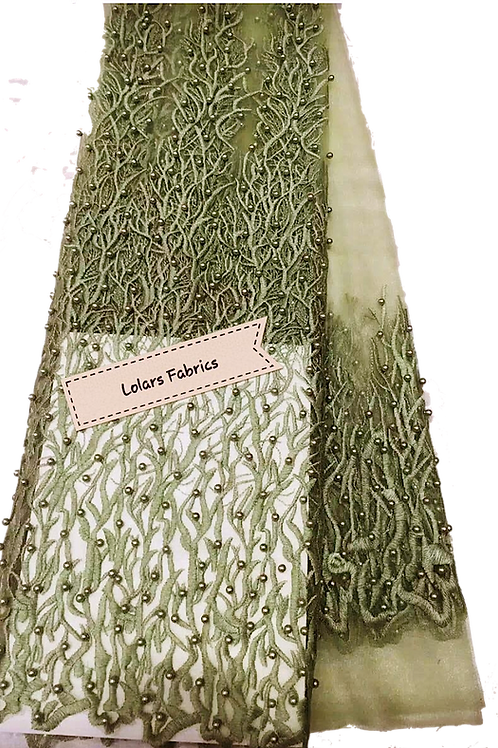 Green Beads Galore Tulle lace
