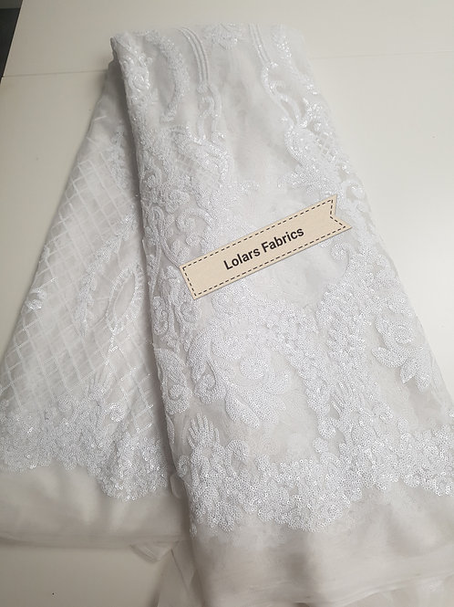 White Sequinned Royal Gala Tulle Lace Fabric