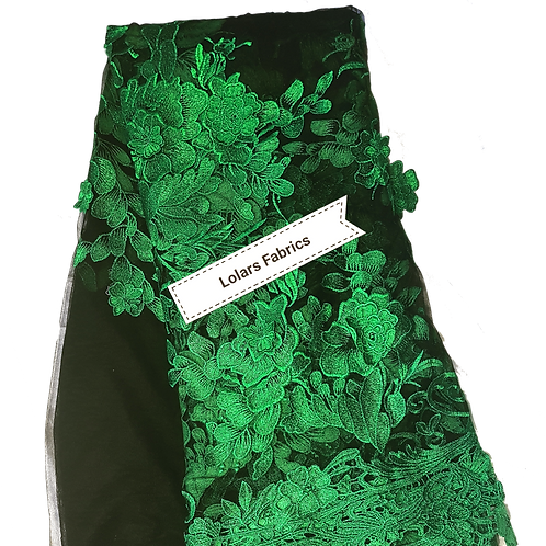 Gorgeous Sparkly Green 3d embroidery on Black Tulle Lace