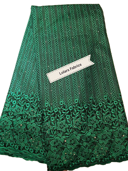 Elegant Green on Black net Lace Fabric