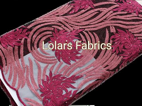 Magenta Swirl Net Lace