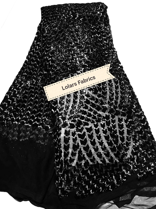 Black Sequins Fiesta Tulle Lace Fabric