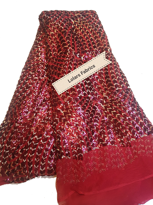 Burgundy Sequins Fiesta Tulle Lace Fabric