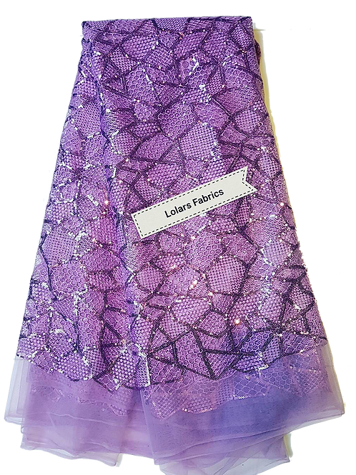 Lilac Matrix Pattern Sequinned Tulle Lace