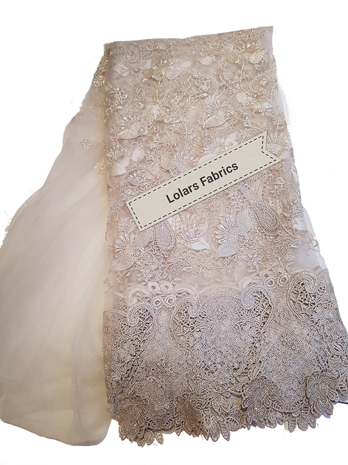 Exotic Silver 3D Tulle Lace Fabric