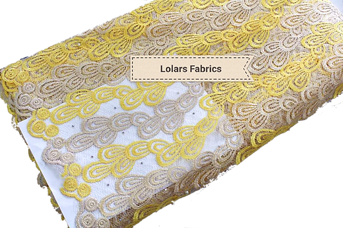 Pretty Yellow and Silver net lace