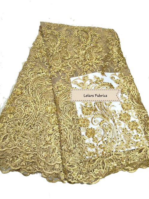 Share  Gold Beads and Stone Tulle Lace