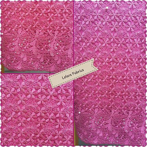 Vibrant Pink Net Lace