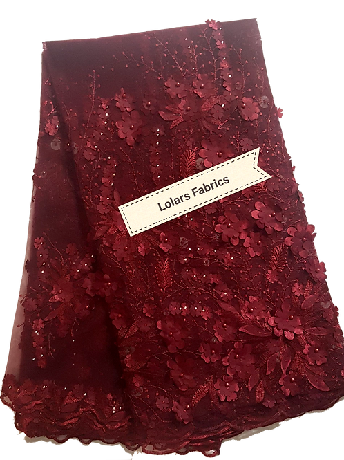 Glamorous Burgundy 3d petalled Tulle Lace