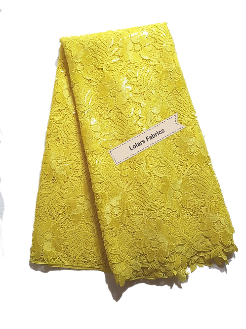 Divine Yellow Sequinned Guipure Lace