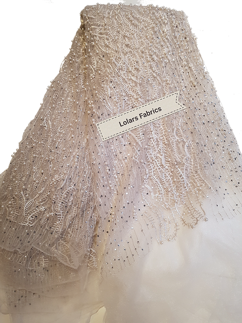 White Beads on Silver Elegant Tulle Lace