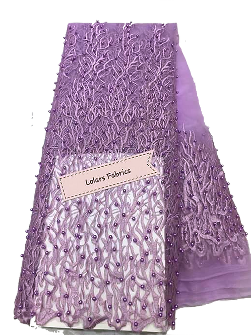Lilac Beads Galore Tulle Lace