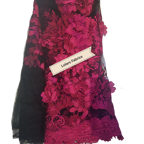 Gorgeous Sparkly Pink 3d embroidery on Black Tulle Lace