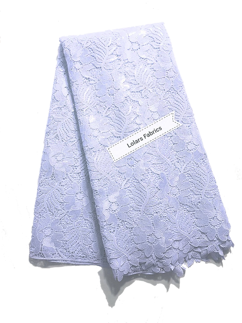 White Sequinned Leaves Guipure Lace Fabric