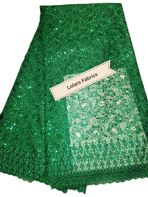 Shiny Green Sequinned Tulle Lace Fabric