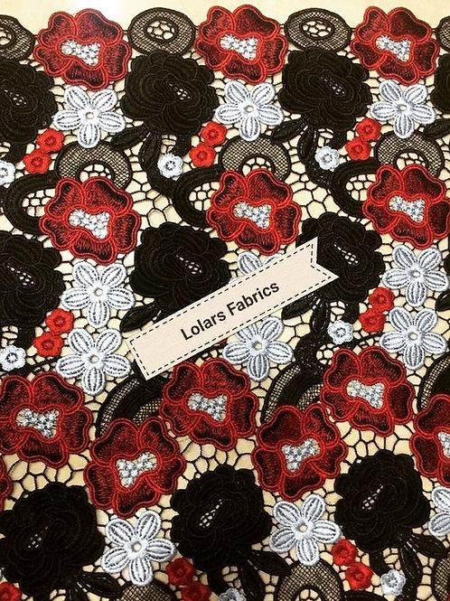 Luxurious multi print Guipure Lace Fabric