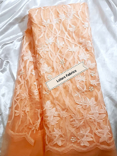 Peach Sequinned Ribbon Embossed Lace Fabric