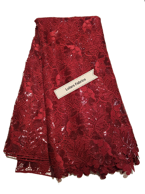 Divine Burgundy Sequinned Guipure Lace