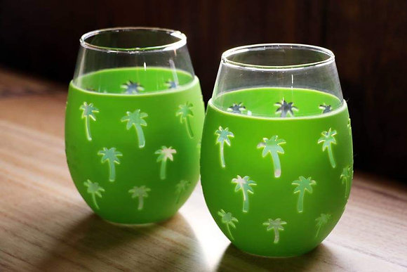 """Palm Tree"" Sili-Wraps Wine Tumblers (Set of 2)"