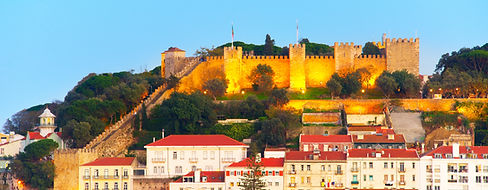 Lisbon Castle on a top of a hill at twil