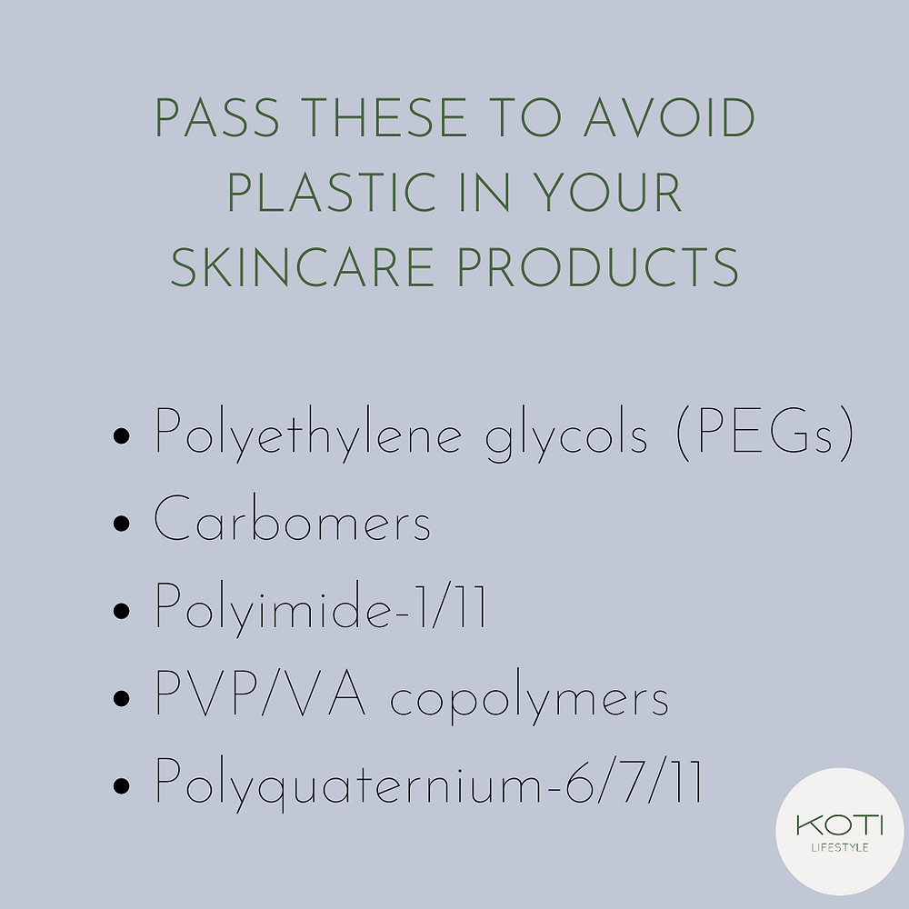 Ingredients to pass to avoid plastic and microplastic in skincare products