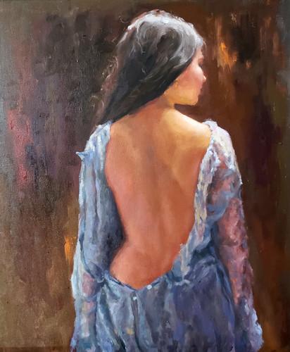 Femme en bleu 22x 28  2020