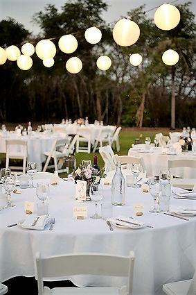 Lawn Wedding - round tables (lighting, c