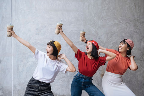 Three cheerful asian female teenager fri