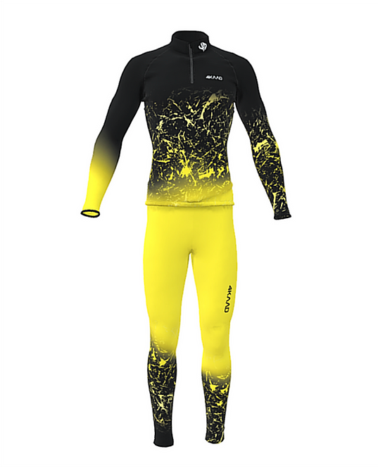 Race Suit KADANA, yellow black, 3D Lycra, 2pc
