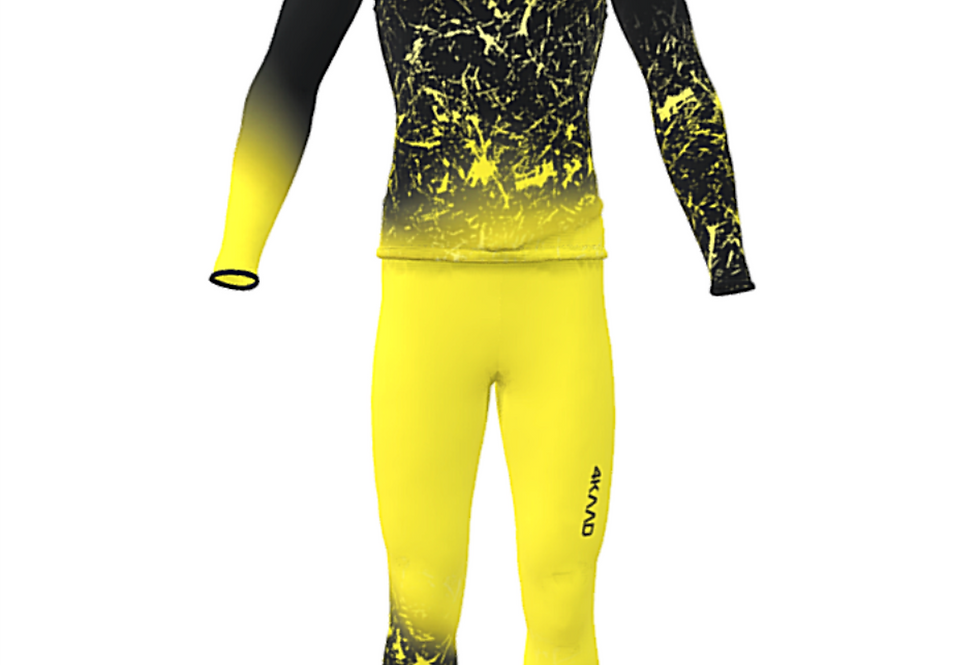 Race Suit KADANA, yellow black, 3D Lycra, 2pc