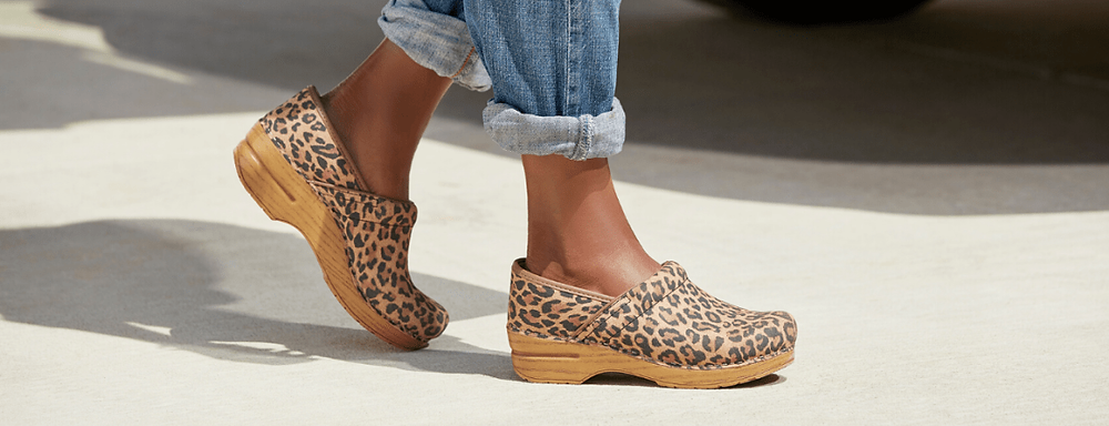 Boger's Shoes Dansko Pro Leopard Suede women shoes walking outside