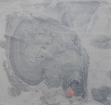 Handmade Japanese paper marbled with hand ground sumi inks.  W70cm x H75cm