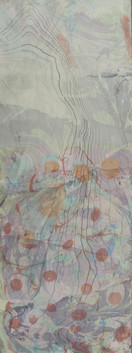 Hand marbled paper using watercolour floated in a thickened water made with carageenan moss. Additional marbling made using hand ground sumi ink.  W23.5cm x H63.5cm