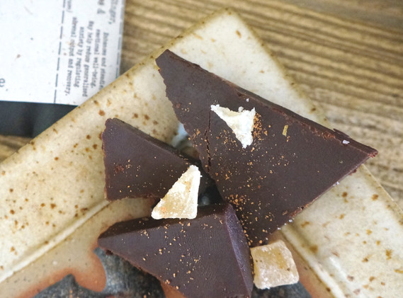 Chai and Crystallized Ginger Raw Chocolate Bar