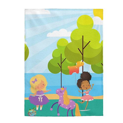Velveteen Plush Blanket; Friends in the Park