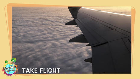 Quiet Space gives children a chance to relax and reflect  (no sound).  In this episode of Quiet Space, a passanger watches the clouds from insde an airplane.