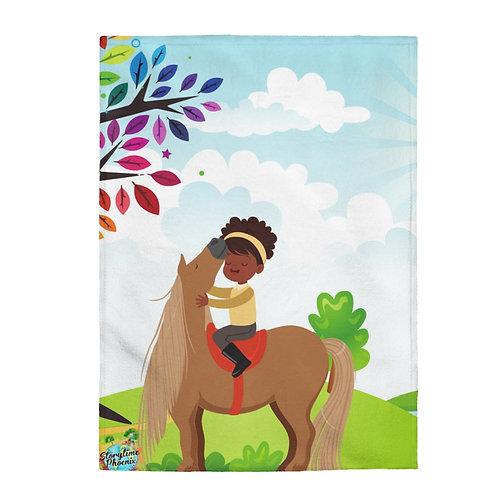 Velveteen Plush Blanket; Girl and Horse