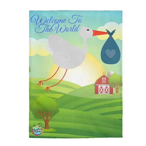 Velveteen Plush Blanket; Welcome to the World