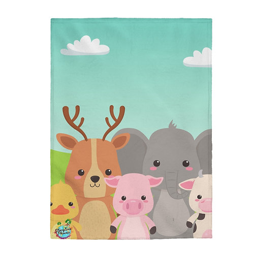Velveteen Plush Blanket; Animal Friends