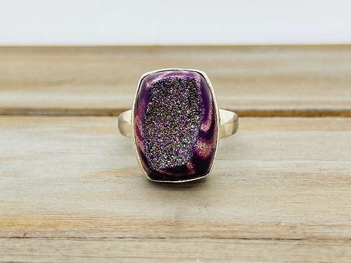 IN Sajen 925 Purple Animal Print Druzy Ring