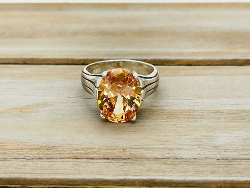925 Amber Color Stone Ring
