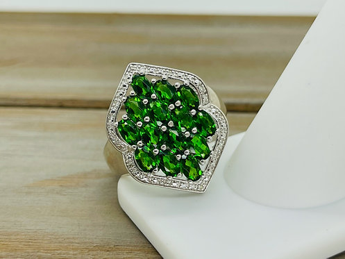 925 Green Diopside Cluster Ring