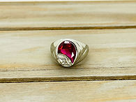 10KWG Mens Synthetic Ruby Ring