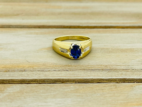 10KYG Synthetic Sapphire Mens Ring